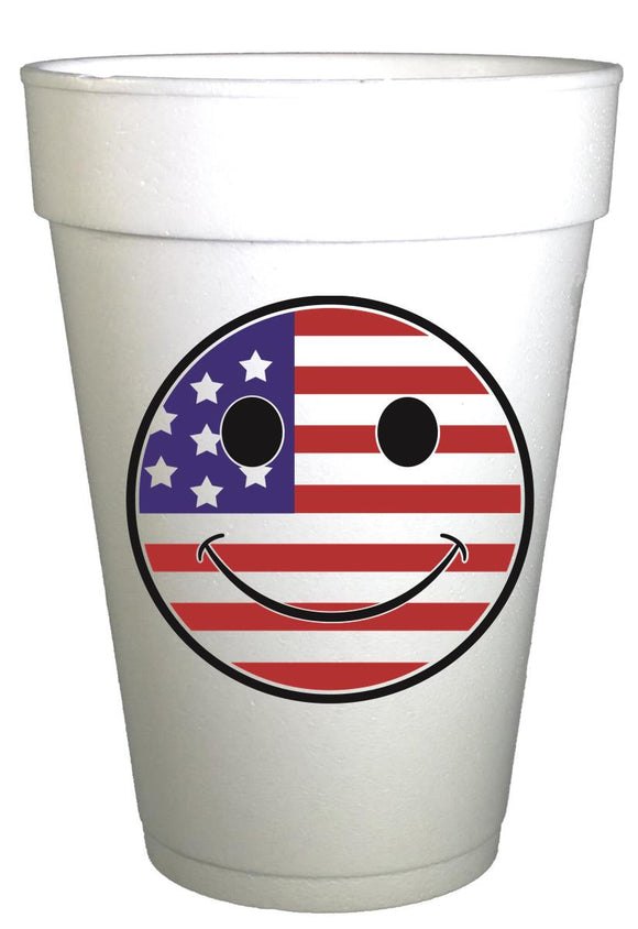 Smiley Flag Fourth of July Party Cups-Pre-Printed Styrofoam Cups