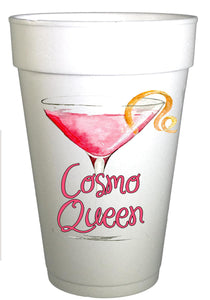Cosmo Queen Text with image of Cosmopolitan drink on styrofoam cup