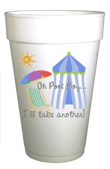 Oh Pool Boy! Styrofoam Pool Party Cups