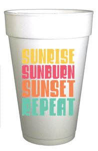 Sunrise Sunburn Sunset Repeat Styrofoam Pool Party Cups