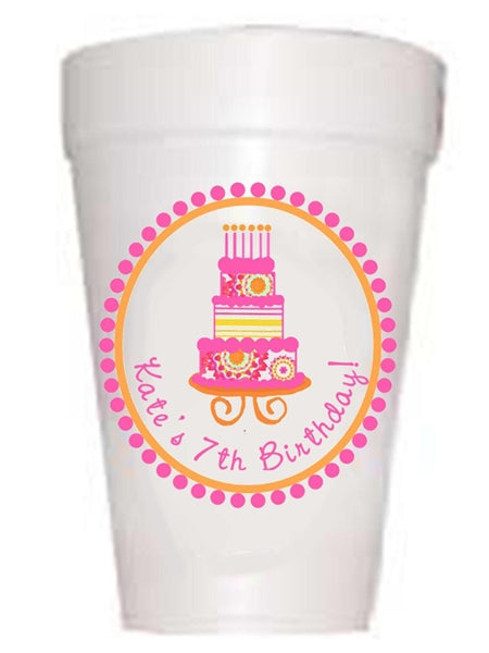 Personalized Pink Birthday Cake Birthday Cups-Custom Full Color Cups-Preppy Mama