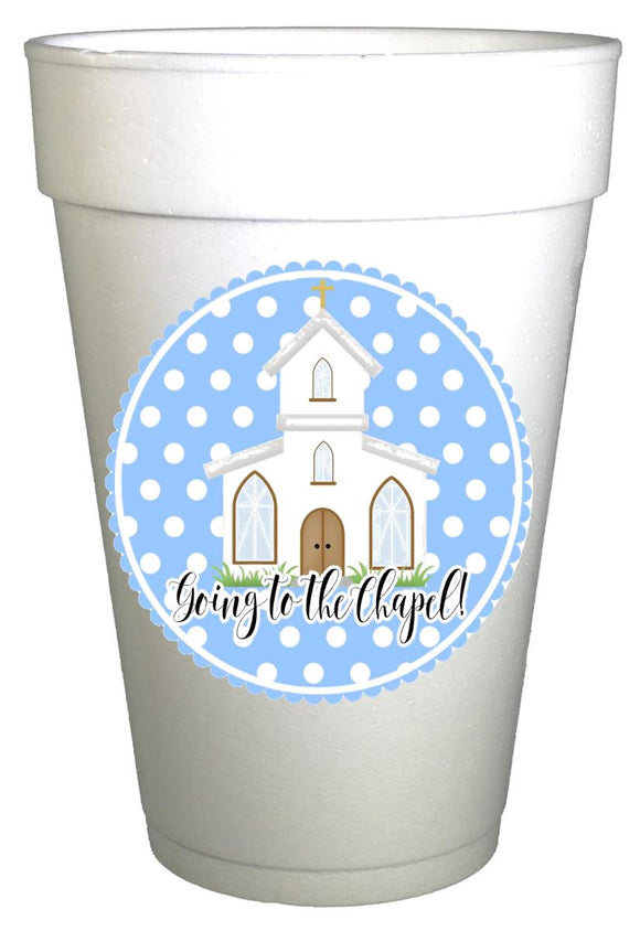 Going to the Chapel Blue Polka Dot Wedding Cups