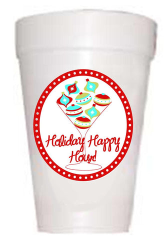 'Holiday Happy Hour' Christmas Cups - Preppy Mama