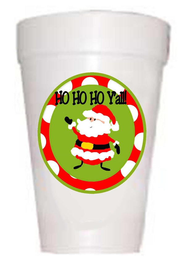 Ho Ho Y'All Christmas Styrofoam Cups - Preppy Mama