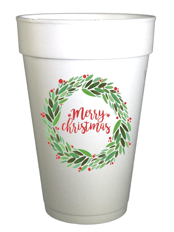 Merry Christmas Wreath Christmas Cups