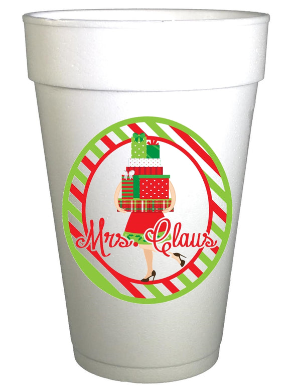 Mrs. Claus Styrofoam Christmas Cups, Christmas Cups, Preppy Cups