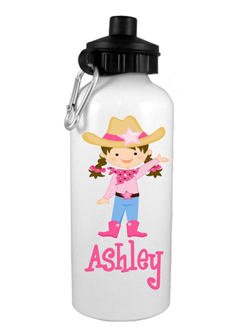 Cowgirl Brunette w/Name Water Bottle - Preppy Mama