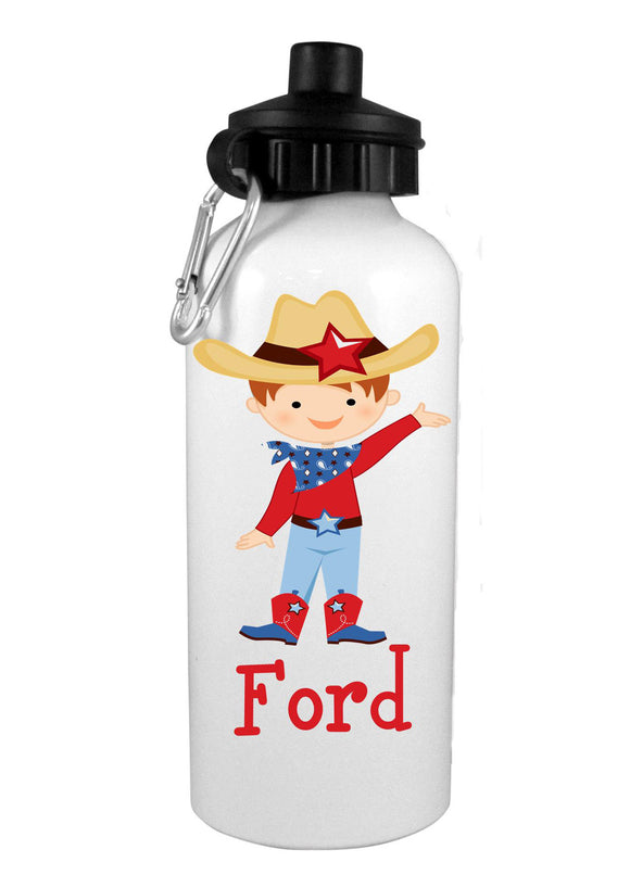 Cowboy Redhead  w/Name Water Bottle - Preppy Mama