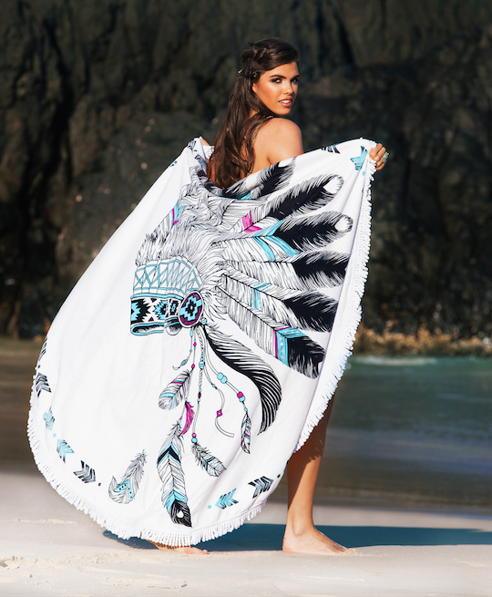 The Headdress - Luxe Round Beach Towel