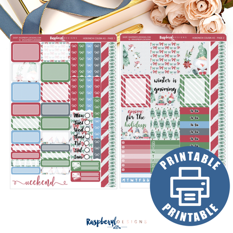 PRINTABLE Winter is Gnoming Hobonichi A5 Cousin Mini Kit
