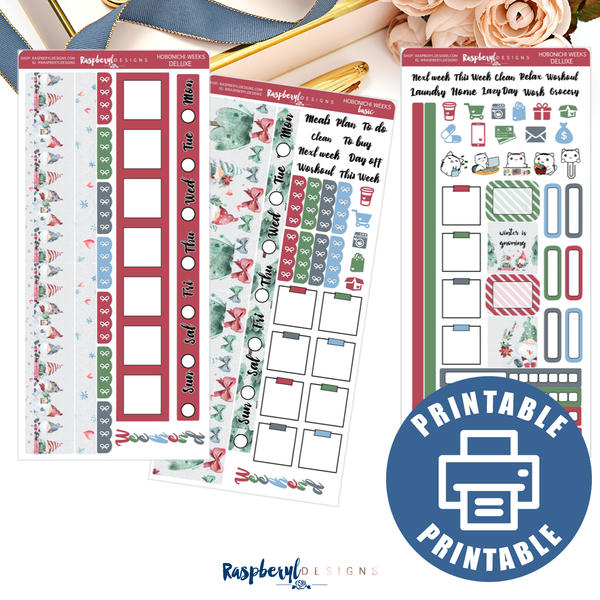 PRINTABLE Winter Is Gnoming Hobonichi Weeks Mini Kit