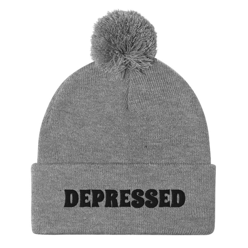 DEPRESSED Pom-Pom Beanie