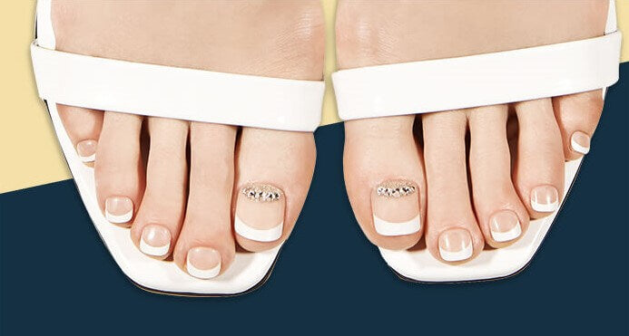MAGIC PRESS GEL PEDICURE NAILS: TWINKLE FRENCH : SPECIAL OFFER!