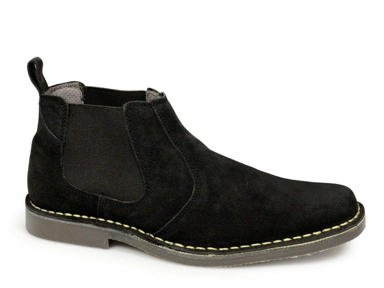 Roamers Black Suede Chelsea Boots