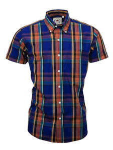 Relco Blue/Purple Check Short Sleeve Shirt