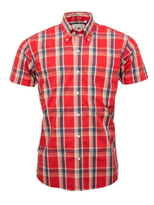 Relco Burnt Orange Check Short Sleeve Shirt