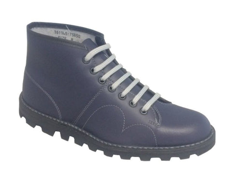 Grafters Navy Leather Monkey Boots