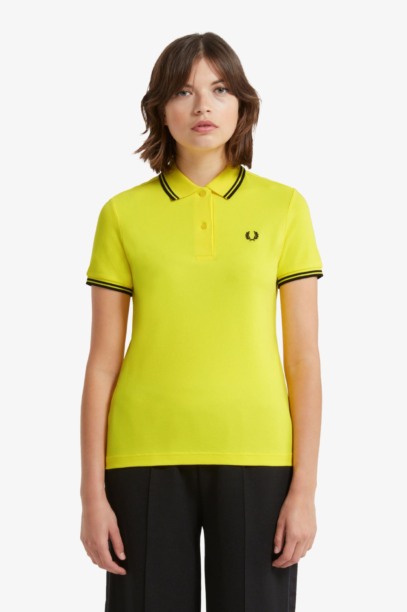 Ladies Fred Perry Golden Kiwi Polo with Black Twin Tipping