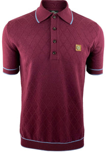 Trojan Burgundy Knitted Polo with sky blue tipping