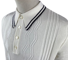 Load image into Gallery viewer, Ska & Soul Ecru/White Fine Striped Gauge Pointelle Polo