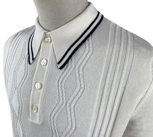 Ska & Soul Ecru/White Fine Striped Gauge Pointelle Polo