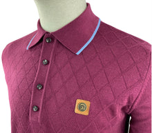 Load image into Gallery viewer, Trojan Burgundy Knitted Polo with sky blue tipping