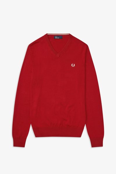 Fred Perry Red V Neck Jumper