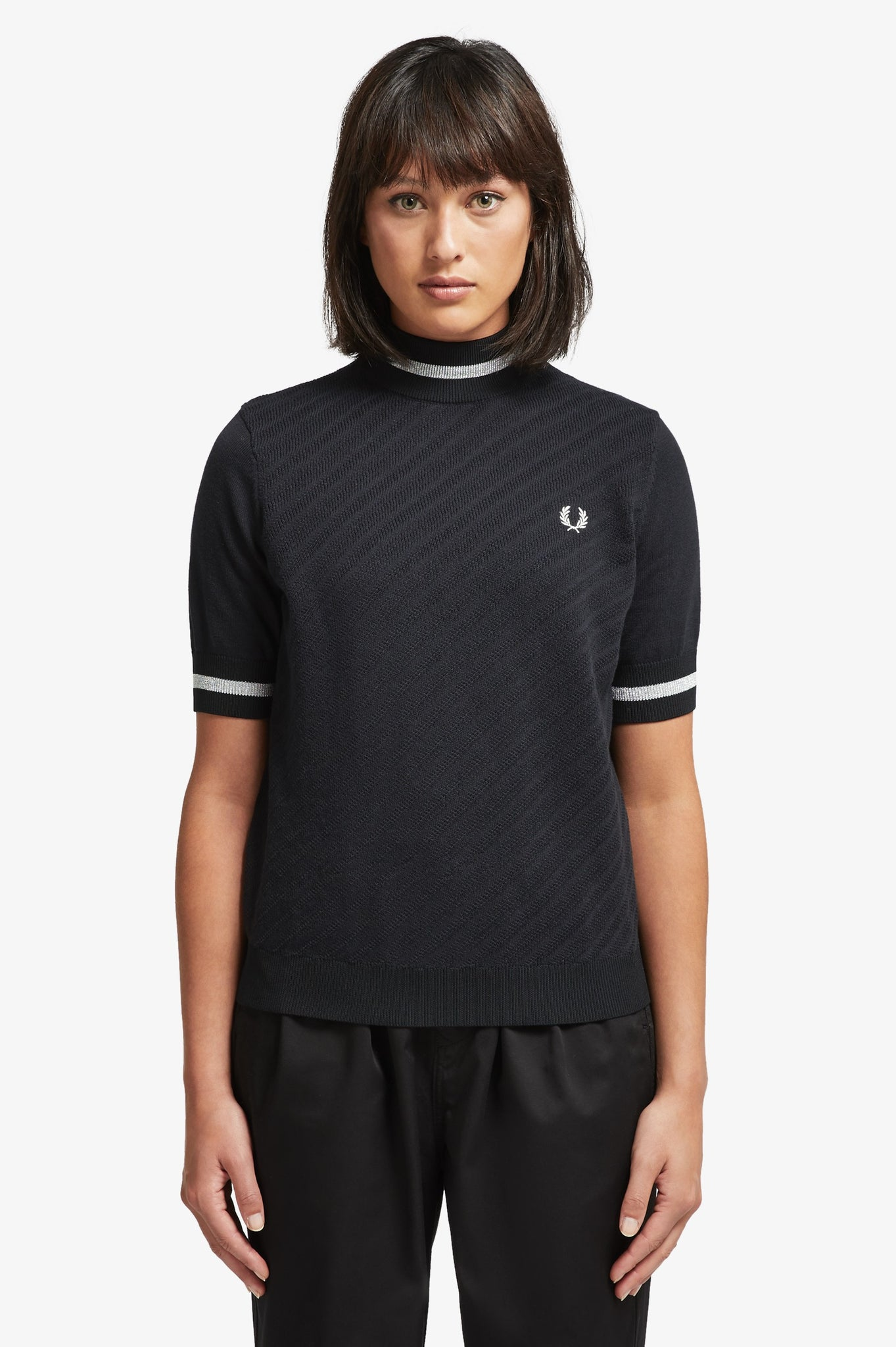 Fred Perry Ladies Black Textured Turtle Neck Knit