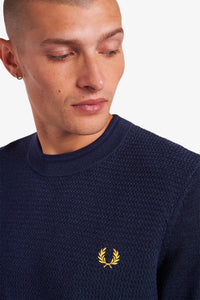 Fred Perry Navy Textured Knitted T-shirt