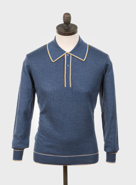 Art Gallery Clothing Isley Mid Blue Knitted Polo