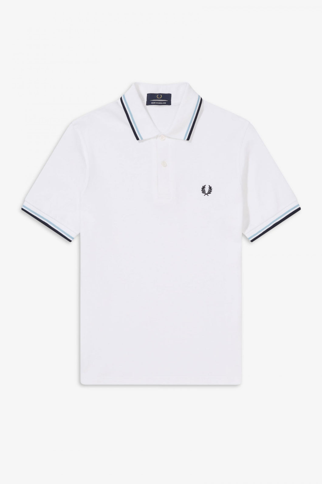 Fred Perry Made in England Polo - Classic White with Navy and Sky Twin Tipping