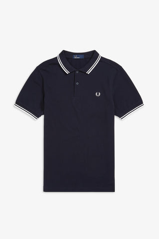 Fred Perry Navy Polo with White Twin Tipping