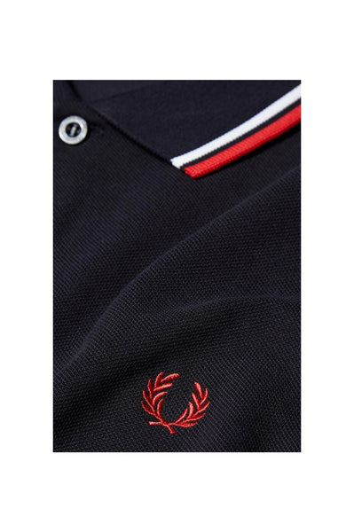 Fred Perry Navy Polo with Red & White Twin Tipping