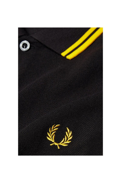 Fred Perry Black Polo with Yellow Twin Tipping