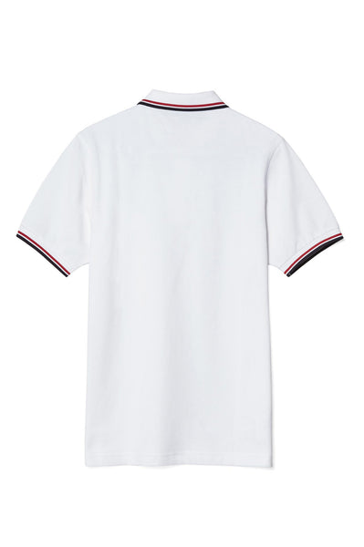 Fred Perry White Polo with Red & Navy Twin Tipping
