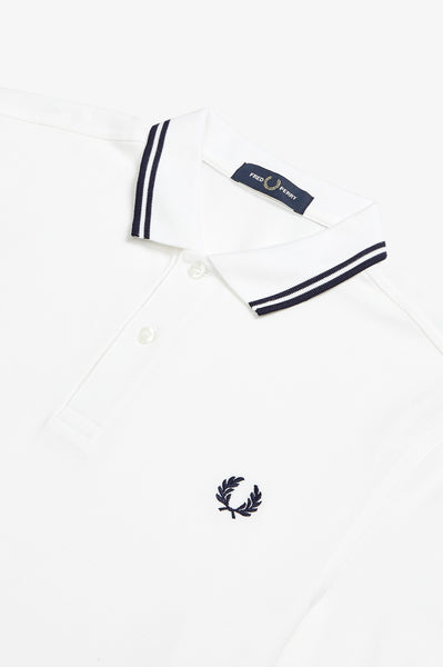 Fred Perry White Polo with Carbon Blue Twin Tipping