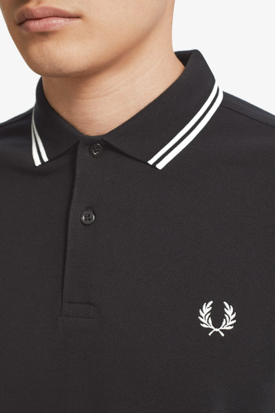 Fred Perry Black Long Sleeve Polo with White Twin Tipping