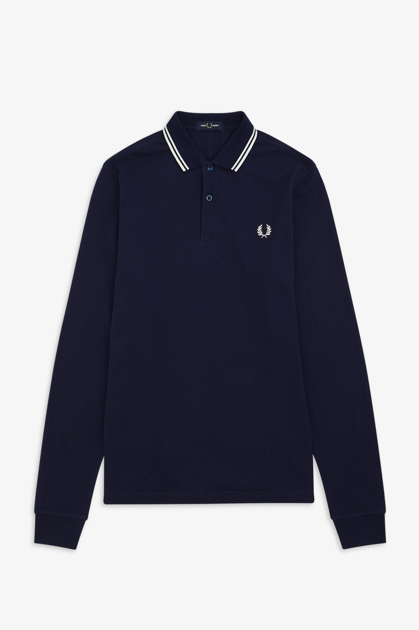 Fred Perry Carbon Blue Long Sleeve Polo with White Twin Tipping