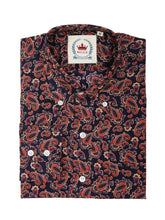 Load image into Gallery viewer, Relco Navy Long Sleeve Button Down Paisley Shirt