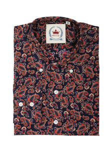 Relco Navy Long Sleeve Button Down Paisley Shirt