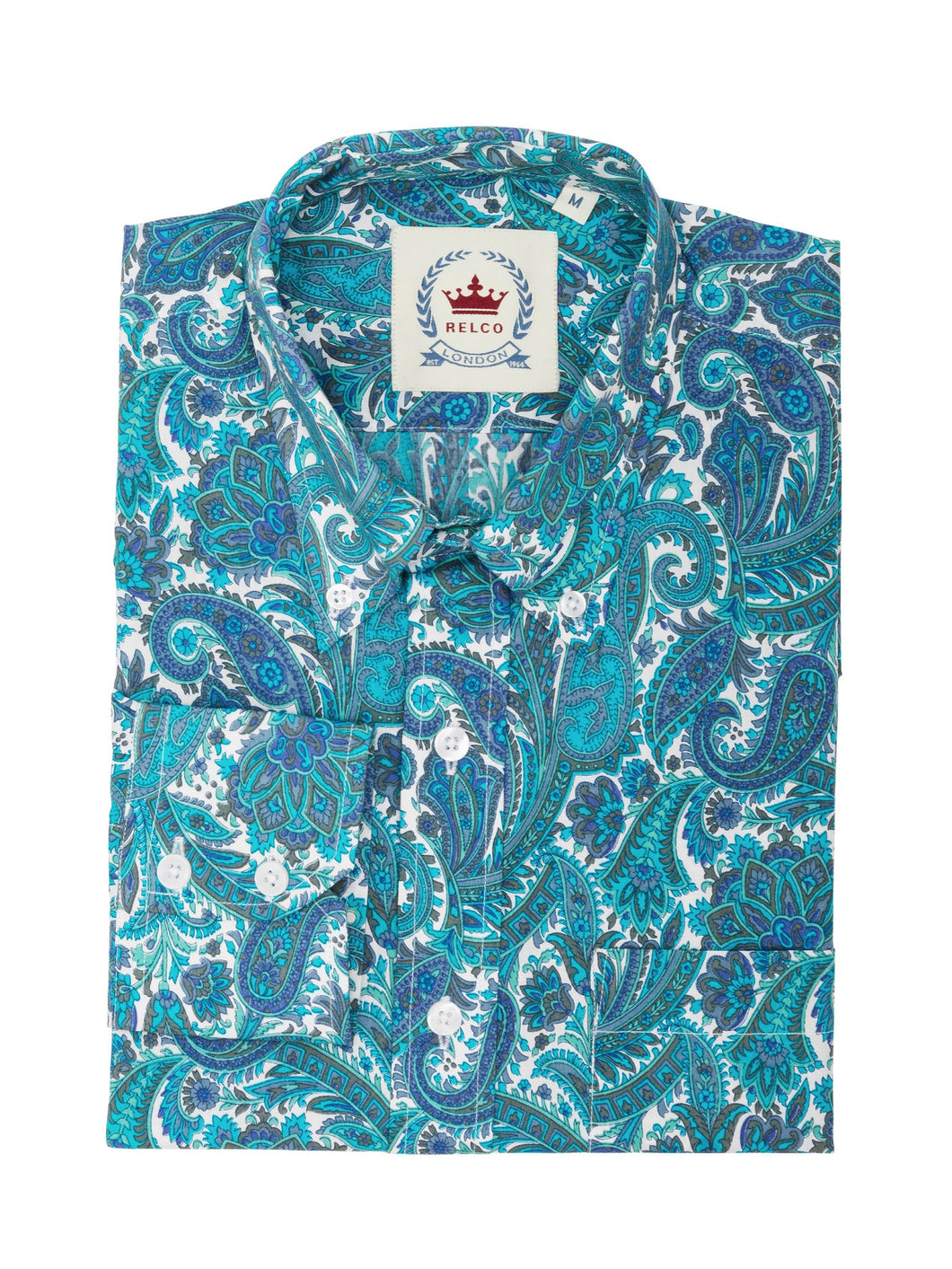 Relco Turquoise Long Sleeve Button Down Paisley Shirt PS19
