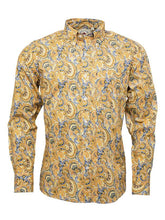 Load image into Gallery viewer, Relco Gold with Blue Tailing Long Sleeve Button Down Paisley Shirt PS20