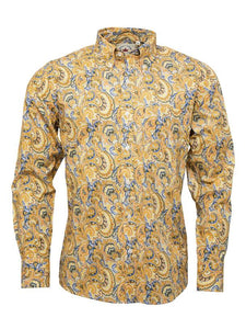 Relco Gold with Blue Tailing Long Sleeve Button Down Paisley Shirt PS20