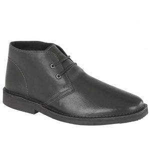 Roamers Black Leather Round Toe Desert Boots