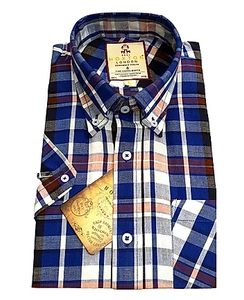 Real Hoxton Blue Check Short Sleeve Shirt