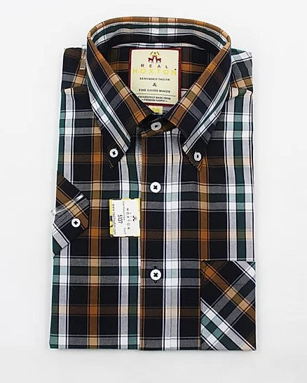 Real Hoxton Mustard Check Short Sleeve Shirt