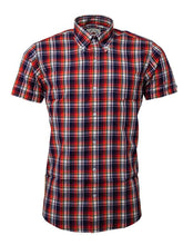 Load image into Gallery viewer, Relco Red/navy Check Short Sleeve Shirt