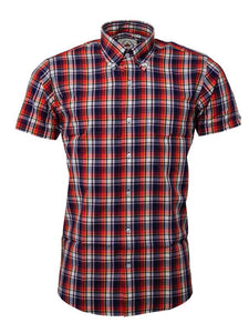 Relco Red/navy Check Short Sleeve Shirt