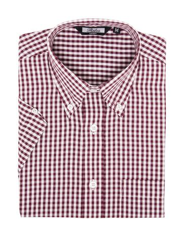 Relco Burgundy Gingham Short Sleeve Shirt