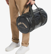 Load image into Gallery viewer, Fred Perry Black & Gold Barrel Bag